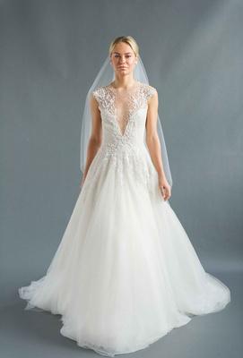 Sabrina Dahan 2016 v-neck wedding dress with A-line skirt and illusion beaded straps