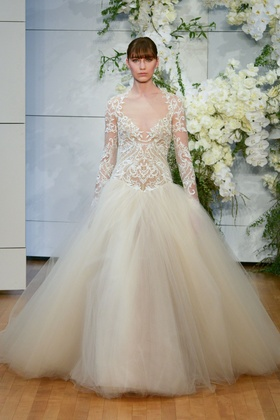 Monique Lhuillier Spring 2018 bridal collection Marguerite wedding dress tulle v neckline ball gown