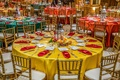 Pithi-Sangeet vibrant dinner table decorations