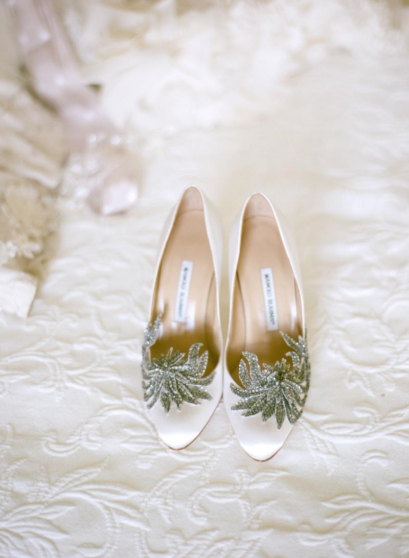 Manolo Blahnik crystal flower wedding heels
