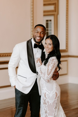 r&b singer tank beauty influencer zena foster wedding, white tuxedo lace wedding dress