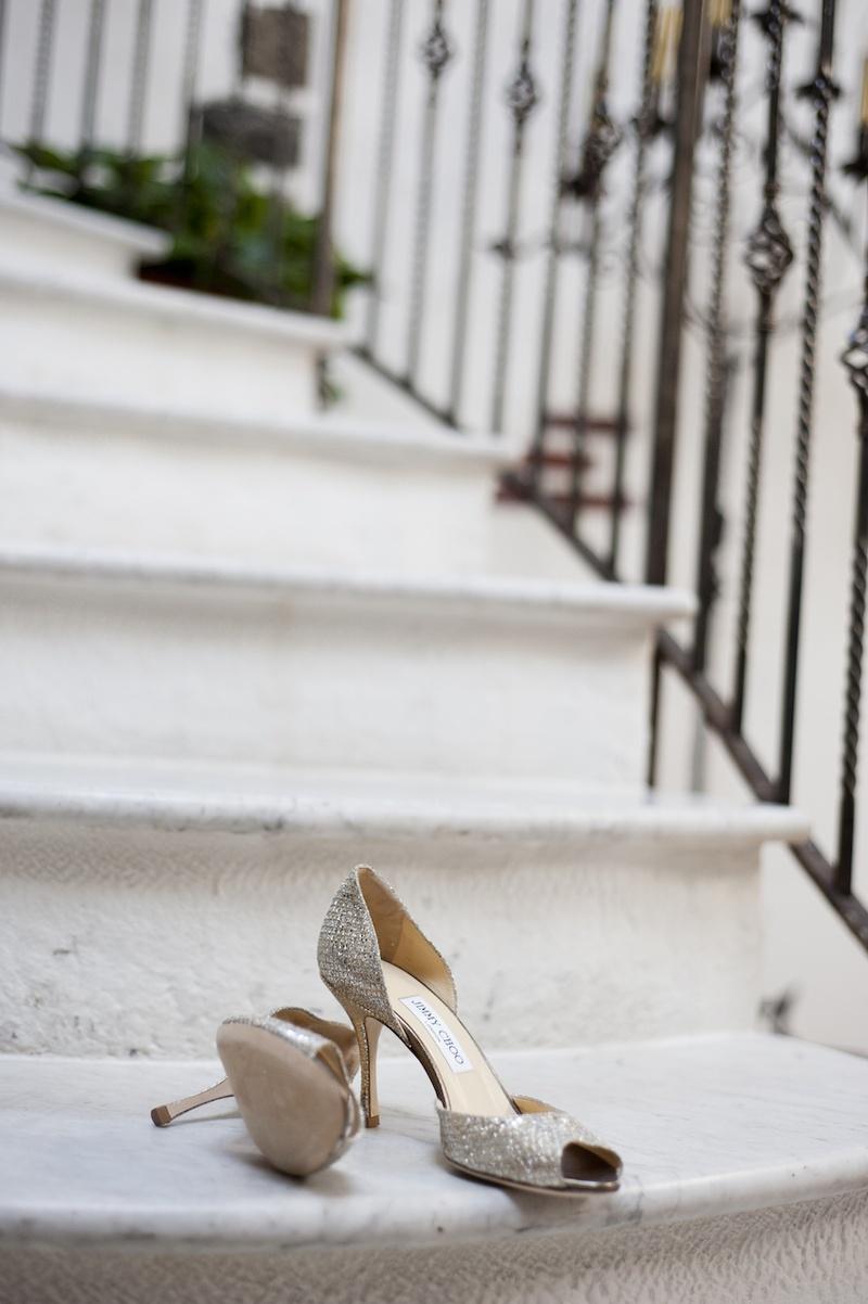 Bride's silvery peep-toe Jimmy Choo pumps