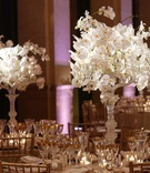 crystal candelabra with white orchids on top, on table with gold accented place settings