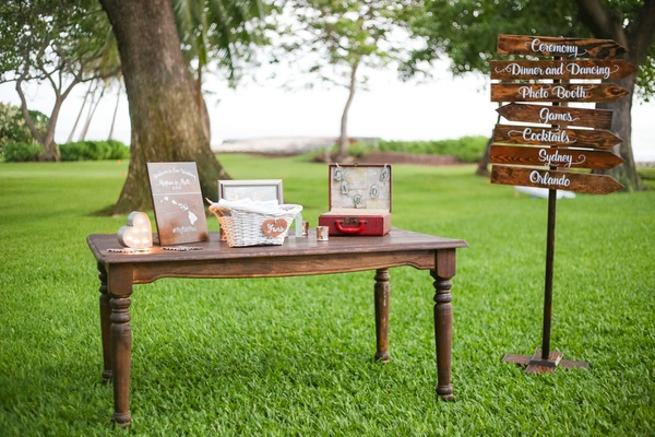 wood directional sign post, card box, fans at outdoor destination wedding ceremony