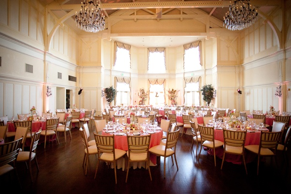 Pink and white wedding reception in a hall of the Peninsula Golf & Country Club, San Mateo, CA