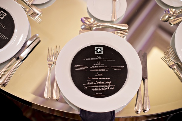 black and silver circular menu, mirrored table jewish wedding reception