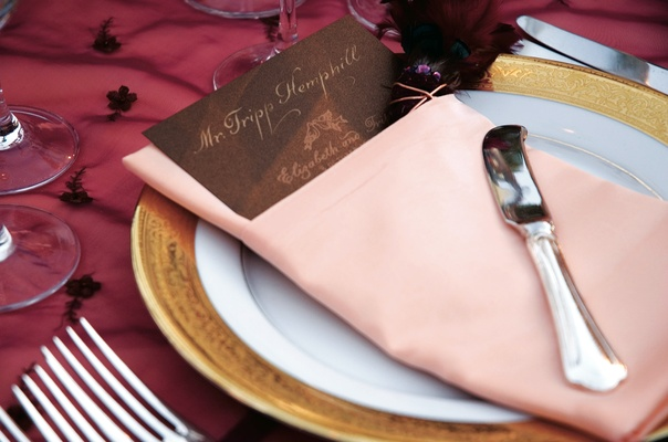 Raspberry tablecloth with pink napkin