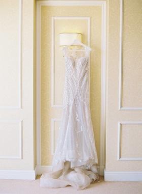 Sequin Manuel Mota second wedding dress for reception on hanger