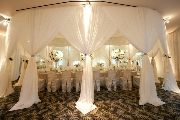 Long table under white fabric canopy in hotel ballroom