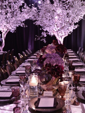 Designed for the Associated press dinner, tones of plum and aubergine.