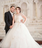 Mon Amie Bridal Salon creative director wedding portrait in Lazaro wedding dress