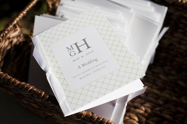 White and green wedding ceremony booklets