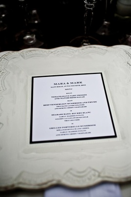 White antique scallop charger with modern wedding menu