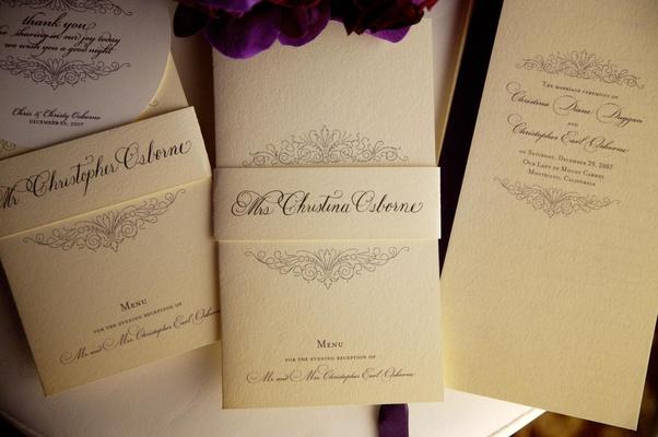 Ivory wedding menu and ceremony program