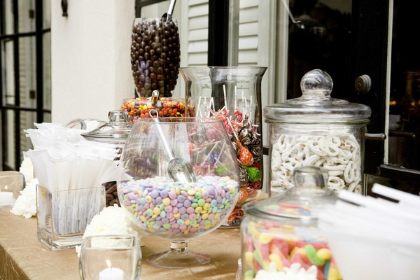 Outdoor wedding reception candy bar