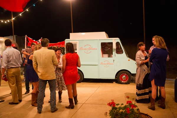 Retro ice cream truck at fourth of july party