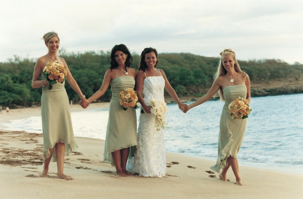 ... Hawaiian Orchids · Bride And Bridesmaids In Green Dresses ...