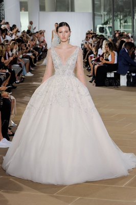Ines Di Santo fall 2019 bridal collection wedding dress Cordelia v-neck box pleat ball gown beading
