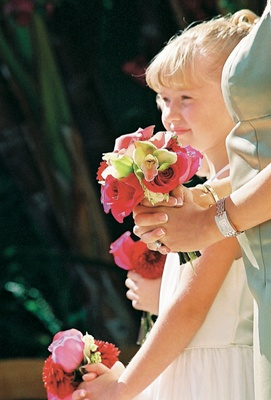 Pink flower girl and bridesmaid nosegays