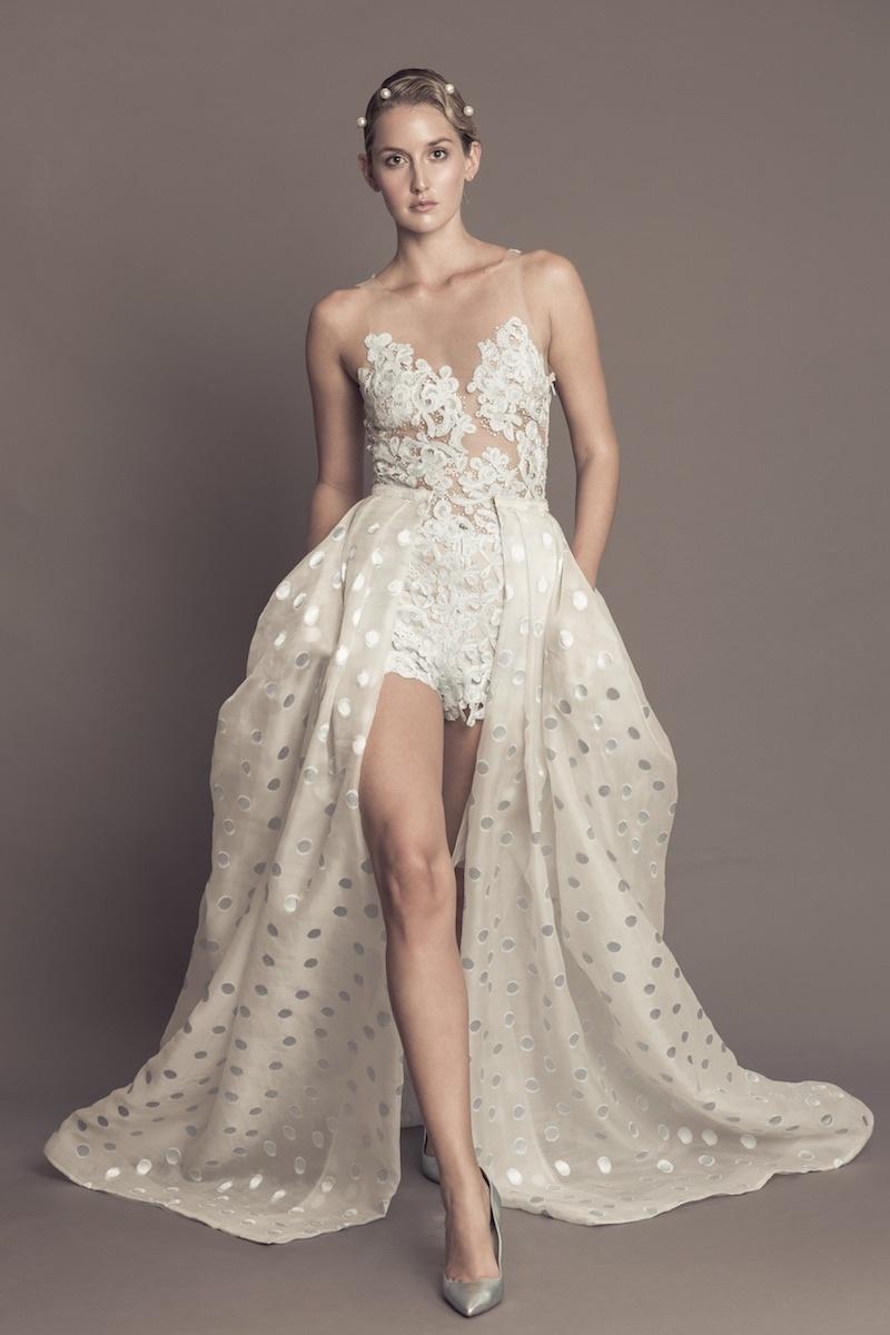 e13122ded02 Francesca Miranda Fall 2016 wedding romper with shimmer polka dot organza  overskirt and illusion