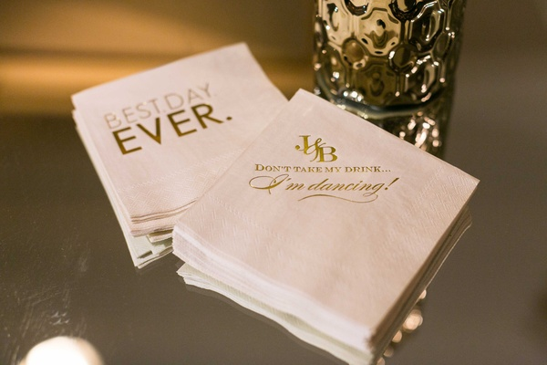 Custom cocktail beverage napkins with Best Day Ever and Don't Take My Drink I'm Dancing words gold