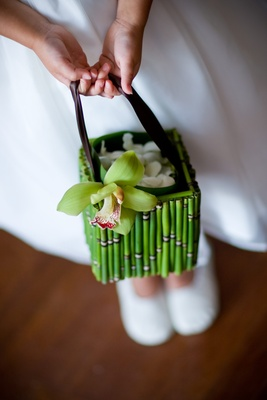 Flower girl purse with green bamboo and orchid
