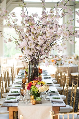 cherry blossom bouquet, rustic wedding reception fruit and flower low centerpieces