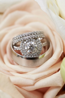 Wedding ring engagement ring round diamond double halo setting eternity band and men's band