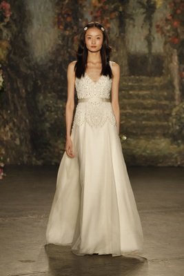 """A-line """"constance"""" dress with v-neck and pearl beading by jenny packham"""