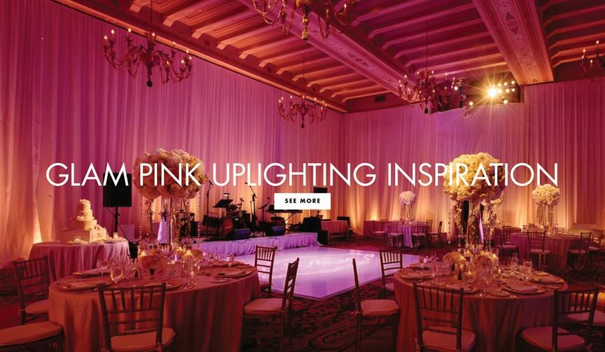 pink uplighting wedding reception feminine blush touch soft glow fairy-tale whimsical