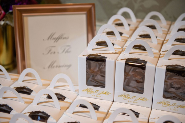wedding favors in cute custom boxes calligraphy bran muffins for the morning after the wedding food
