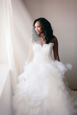 African American bride with hair down wedding hairstyle