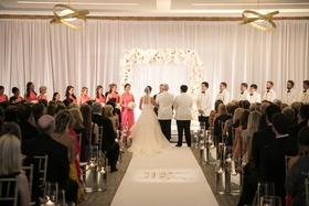bride groom with parents attendants white gold ballroom ceremony original runner company aisle