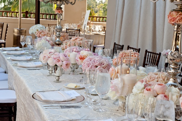 Roses and garden roses in mercury glass centerpieces