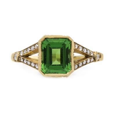 claire pettibone and trumpet and horn equinox engagement ring, tsavorite, green garnet, yellow gold