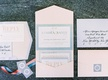 very light pink and blue colored invites in pastel colors