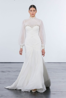 Dennis Basso for Kleinfeld 2018 collection wedding dress high neck blouson sleeve draped bodice