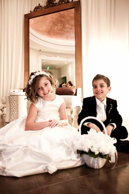 White dress flower girl and tuxedo ring bearer