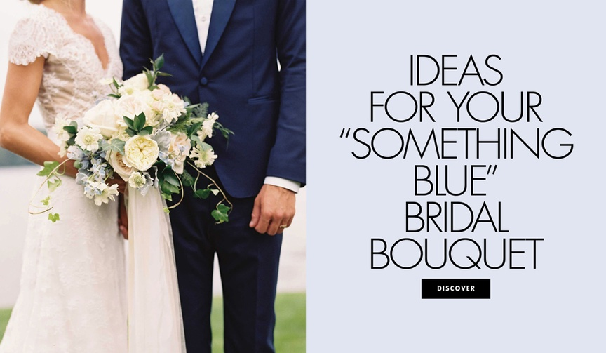 Ideas for your something blue bridal wedding bouquet