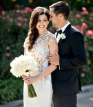 wedding portrait illusion wedding dress j mendel beading applique long stem bouquet curled hair tux