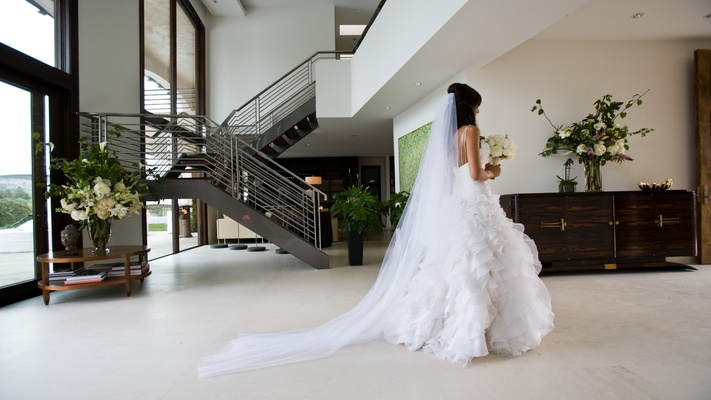 ball gown and cathedral veil