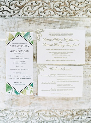Wedding invitation gold palm motif and ceremony program green palm frond design mexico wedding