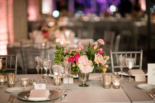 grey table linens silver silver vase pink flowers greenery candle votives