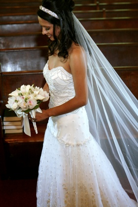 strapless beaded ines di santo gown with cathedral veil