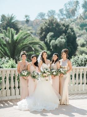Bridesmaid dresses champagne tan cowl neck jewel shoulder high neck v neck mismatched dresses