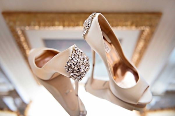 badgley mischka bridal high heels with crystal detailing on the back