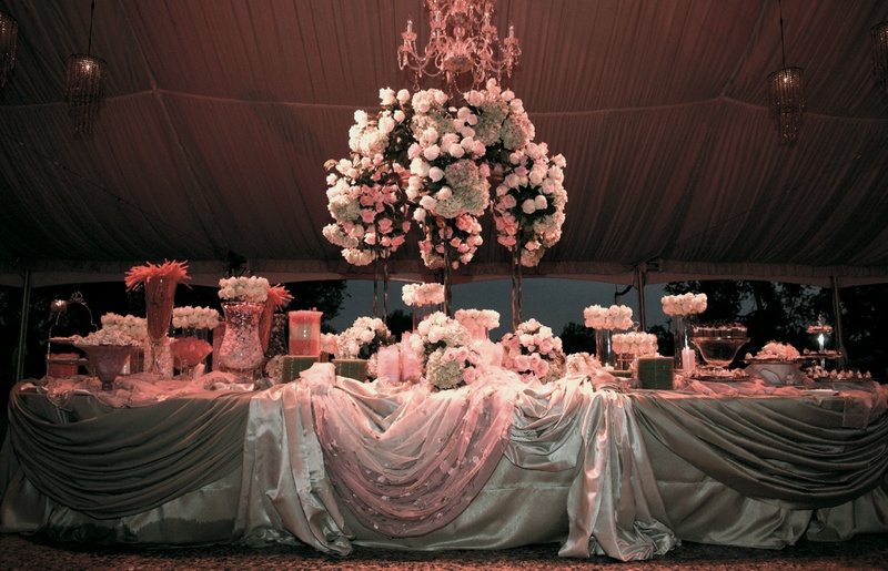 Candy bar station in draped tent for wedding reception & Reception Décor Photos - Wedding Dessert Tent - Inside Weddings