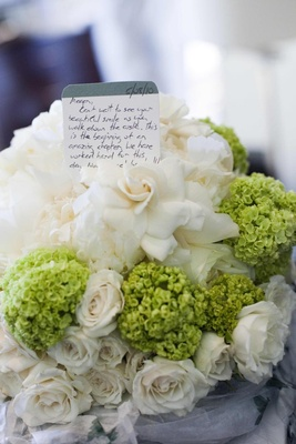 Card from groom in two-toned bridal bouquet