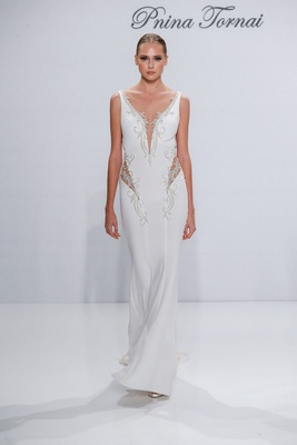 Pnina Tornai for Kleinfeld 2017 Dimensions Collection crepe wedding dress with side cut outs