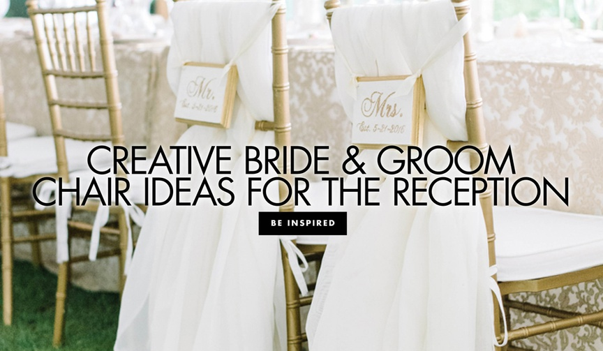 gold chiavari chairs for bride and groom marked with signs and drapery